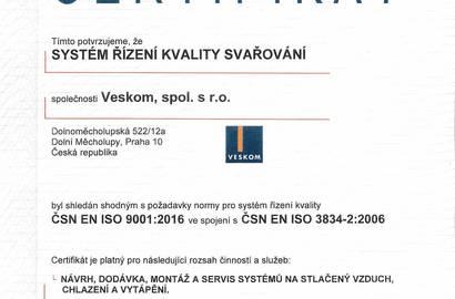 Certifikát -  SYSTÉM ŘÍZENÍ KVALITY SVAŘOVÁNÍ