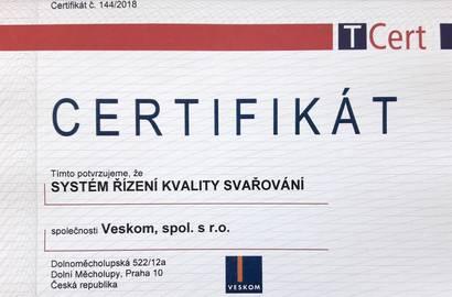 Obnovený certifikát – Systém riadenia kvality zvárania.